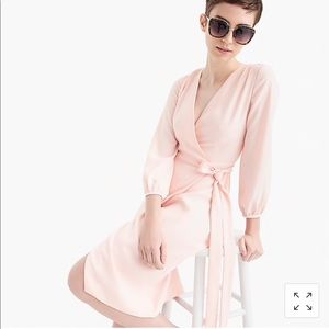 Jcrew Wrap Dress in 360 Crepe pink